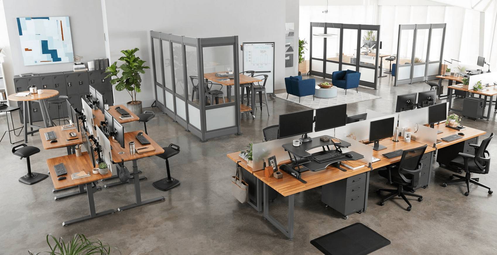 Flexible work stations top companies are shaking up traditional office setups to boost employee interaction comfort and productivity