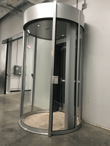 The Circlelock Combi mantrap portal solution prevents unauthorized entry into high-security areas by attaching to existing fire-rated swinging doors.