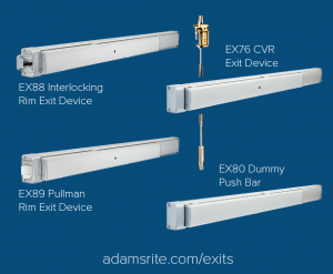 Adams Rite's EX Series Exit Devices are designed for narrow stile aluminum openings in aftermarket and retrofit solutions in commercial applications