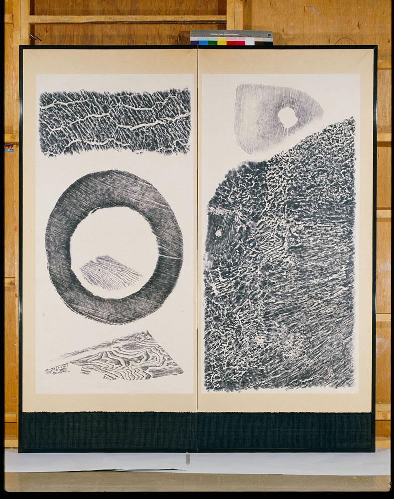 Nature, 1952, by Saburo Hasegawa (Japanese, 1906–1957). Wood rubbings; ink on paper.