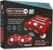 retron 3 video game console laser red package