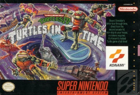 teenage mutant ninja turtles turtles in time snes box art front cover