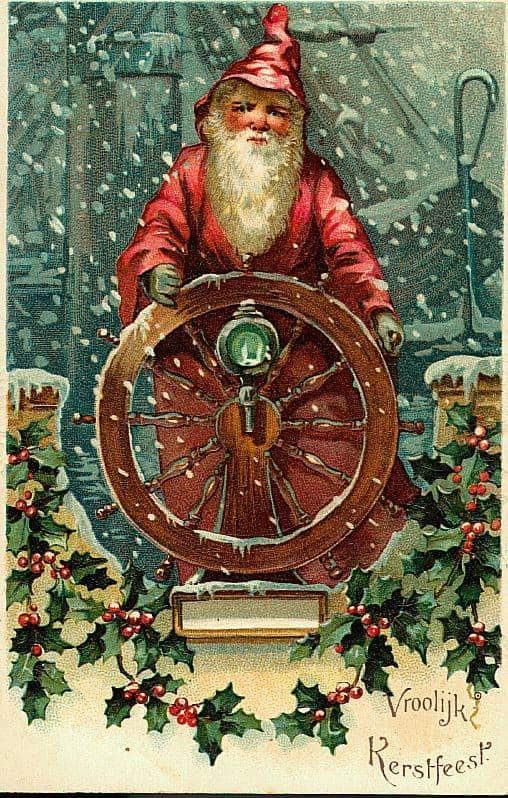 Sailor Santa Claus Vintage Style Christmas Cards