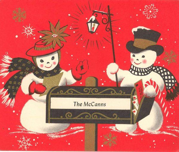 Vintage Christmas Snowman Clip Art