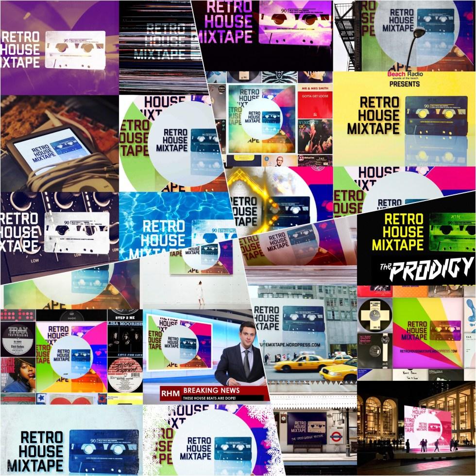 Retro House Mixtape Logo Collage