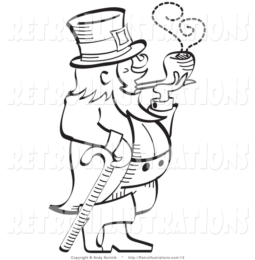Retro Illustration Of A St Patrick S Day Leprechaun Leaning On A Cane And Smoking A Pipe In
