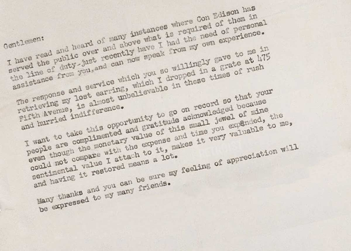 A Thank-You Letter to Con Edison from 1956