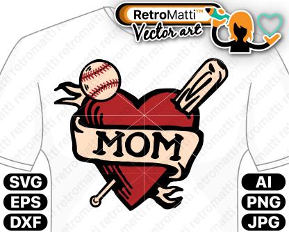 retromatti w part baseball mom tattoo