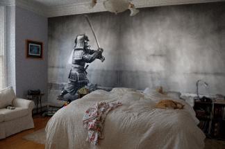 samuari wall art in place