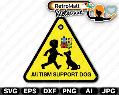 retromatti w part autism support dog triangle