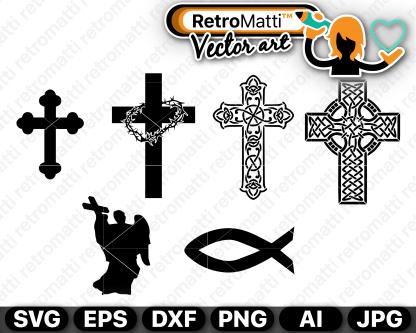 retromatti w part christian crosses and symbols