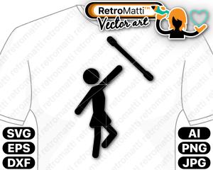 retromatti w part baton twirling pictogram