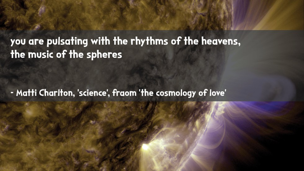 the cosmology of love poetry collection quote by Matti charlton on nasa space image background sun spots