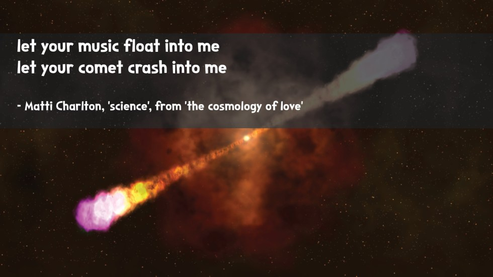 the cosmology of love poetry collection quote by Matti charlton on nasa space image background exploding star rays in outer space supernova
