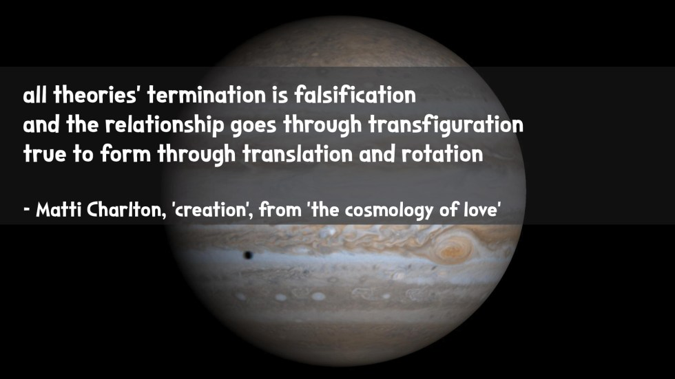the cosmology of love poetry collection quote by Matti charlton on nasa space image background of Jupiter