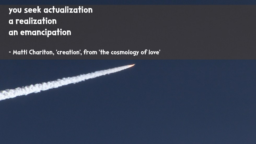 the cosmology of love poetry collection quote by Matti charlton on nasa space image background rocketship ride