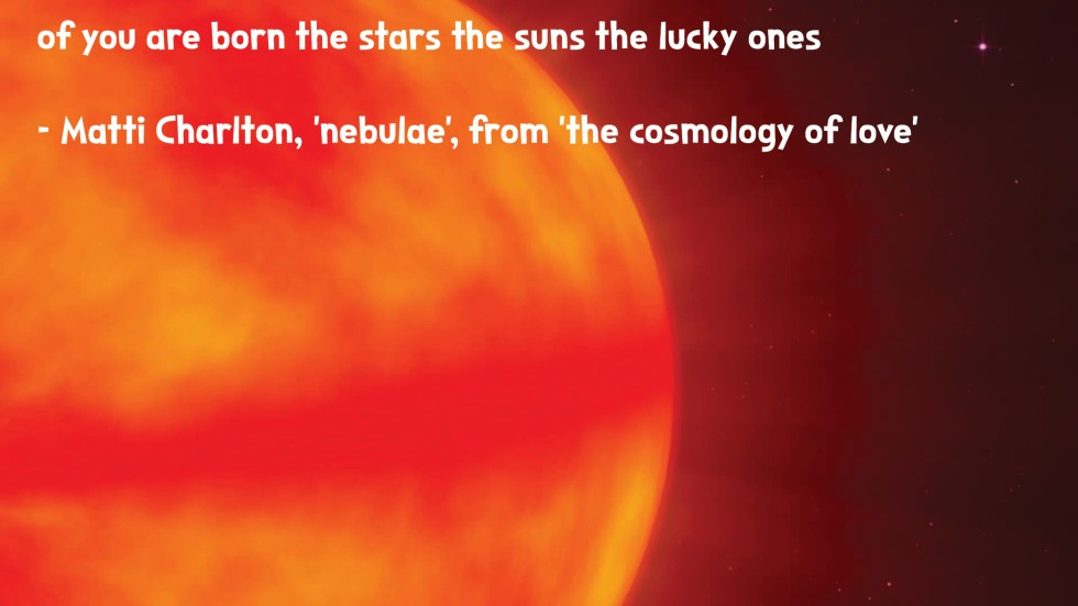 the cosmology of love poetry collection quote by Matti charlton on nasa space image background sun close up