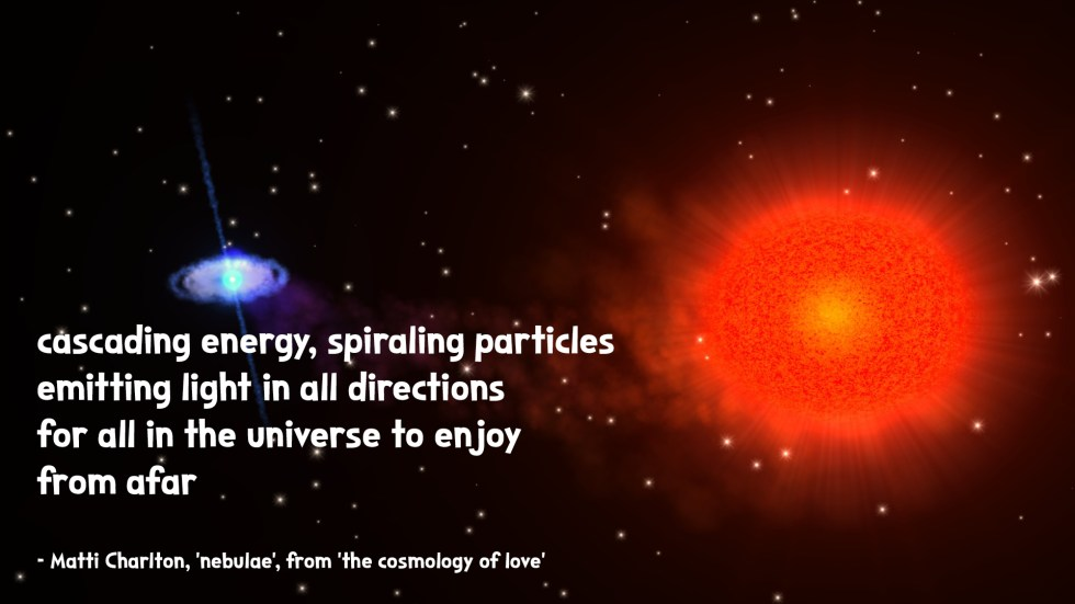 the cosmology of love poetry collection quote by Matti charlton on nasa space image background different types of stars