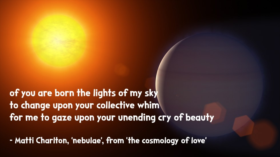 the cosmology of love poetry collection quote by Matti charlton on nasa space image background mercury and the sun