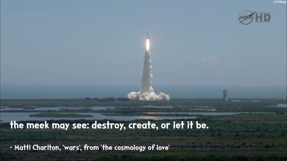 rocket launch the cosmology of love poetry collection quote by Matti charlton on nasa space image background