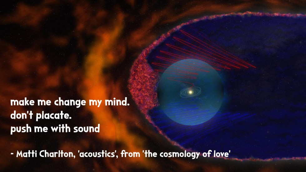 galactic movement bubble the cosmology of love poetry collection quote by Matti charlton on nasa space image background