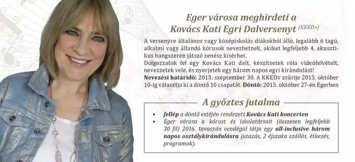 Meghirdették a Kovács Kati Egri Dal Versenyt