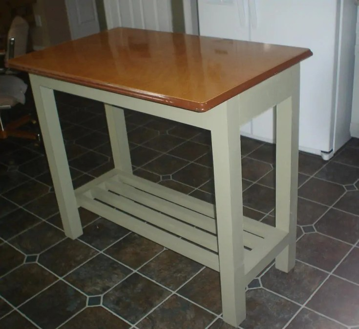 kitchen island genius idea: upcycle a vintage metal table top as a