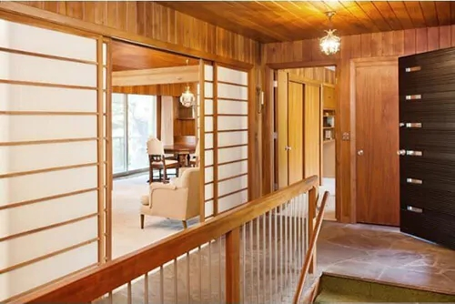 1957 Minnesota Time Capsule House Shoji Screens Chinoiserie | Mid Century Modern Stair Handrail | Wrought Iron | Basement | Bannister | Modern Style | Contemporary Curved Staircase