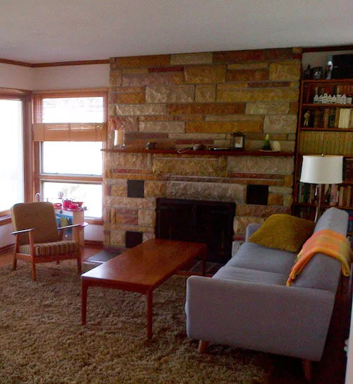 Red Brick Fireplace And After