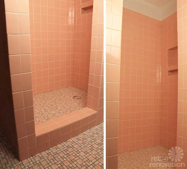 grouts her pink ceramic wall tiles