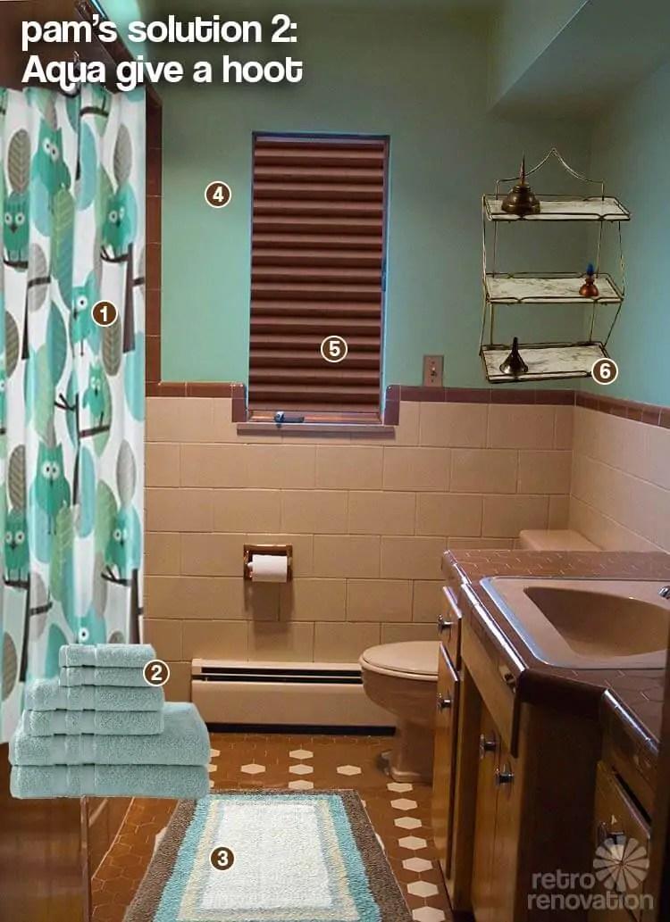 brown and beige tile bathroom