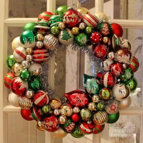 Christmas Wreaths Made Vintage Ornaments