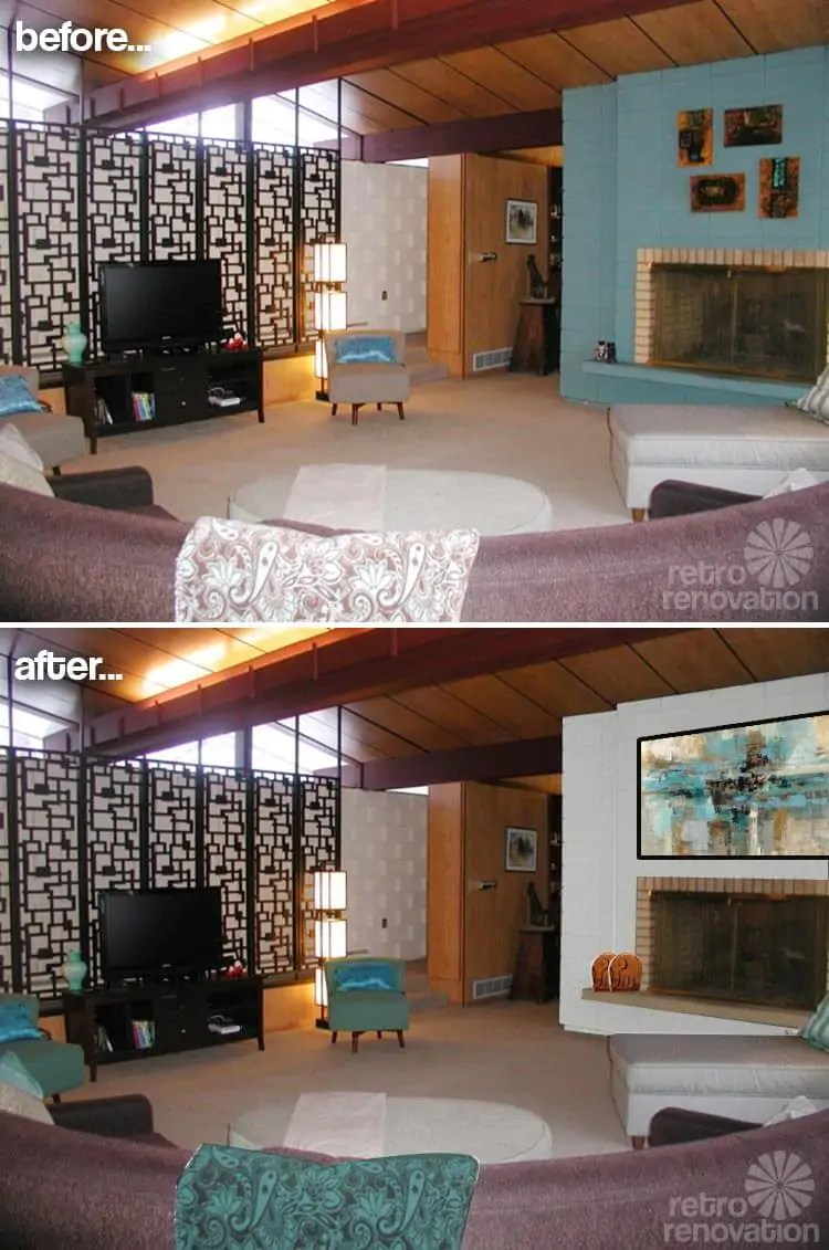 Paint colors for a fireplace in Kathy's mid-century modern ... on Modern House Painting Ideas  id=47659