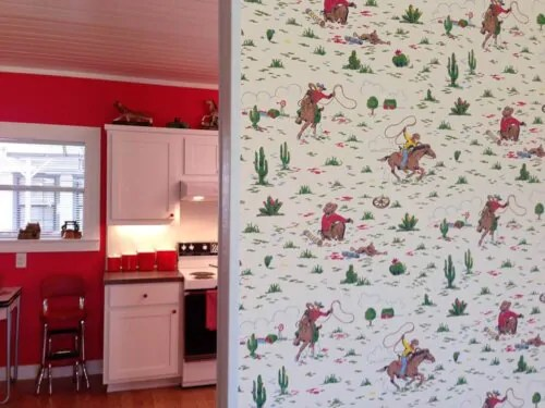 Elizabeths Red And White Kitchen And Cath Kidston Cowboy Wallpaper Retro Renovation