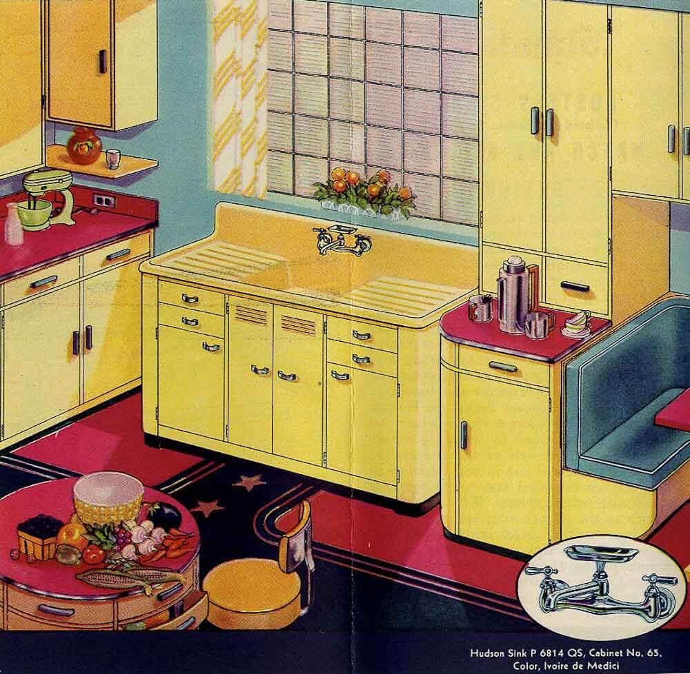 classic colors for a 1940s kitchen: ming green, ivoire de medici, t