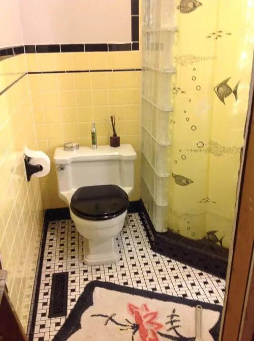 Interesting Vintage Yellow Bathroom Tile In Minimalist Interior Home Design Ideas With