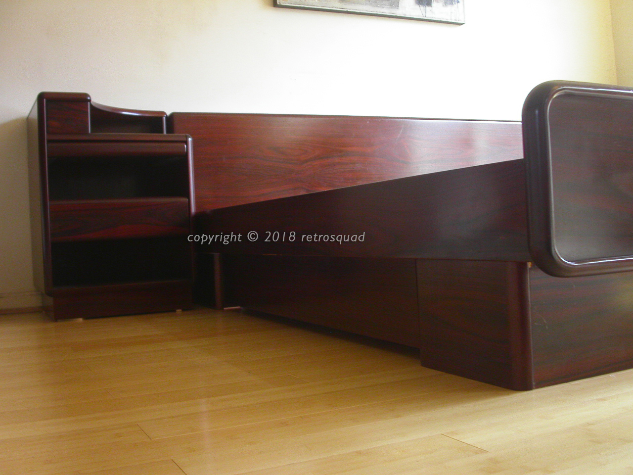 King Size Brazilian Rosewood Platform Bed With Nightstands