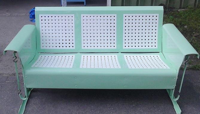 restored vintage metal patio gliders
