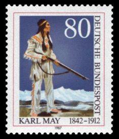 Winnetou auf einer Briefmarke (1987) der Deutschen Bundespost. Die Abbildung entspricht der aktuellen Darstellung auf dem Buch Winnetou I (Karl May's Gesammelte Werke, Band 7)