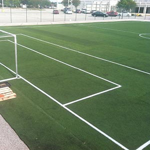a picture of a soccer field utilizing used turf