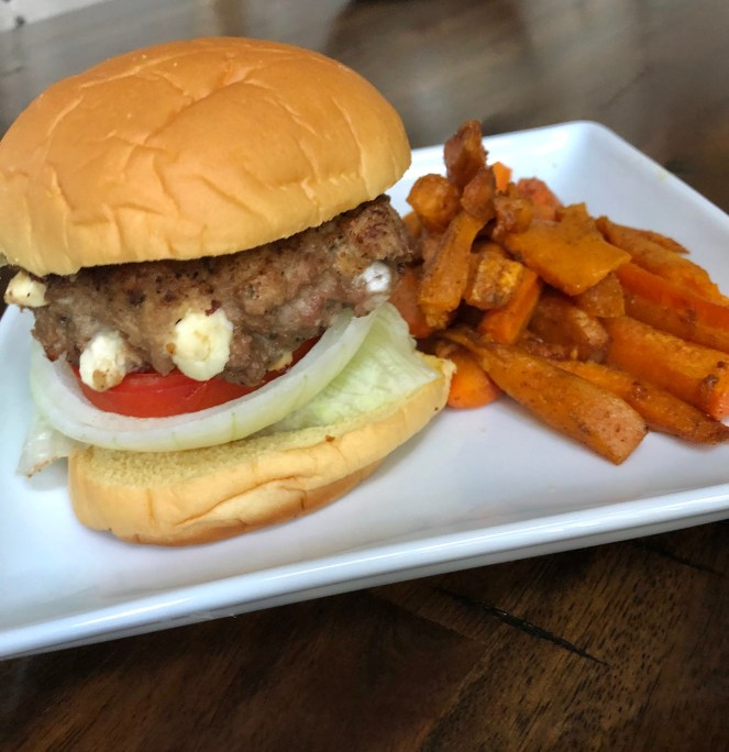 Feta Turkey Burger and Carrot and Sweet Potato Fries