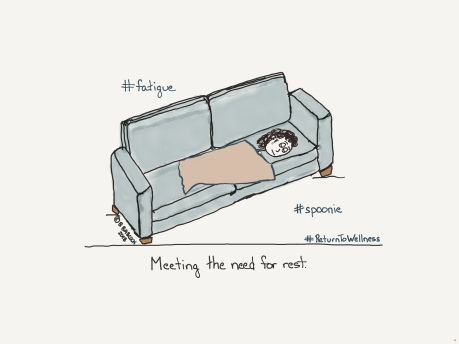 Picture of a person with fatigue sleeping on a sofa