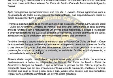Agradecimento 26º Encontro Sul-Brasileiro de Veículos Antigos.