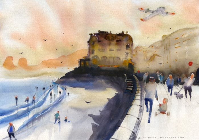 La plage de Hendaye en aquarelle
