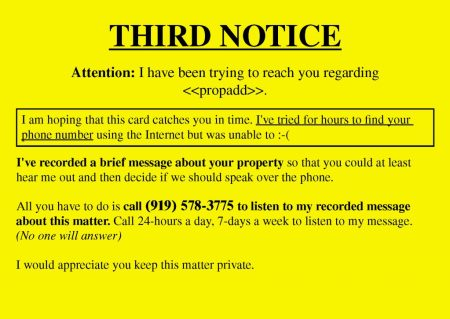 Real Estate Investor Lead Generation Yellow Letter Postcard Example