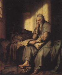 Rembrandt's Paul. He wouldn't really have been writing in a book.