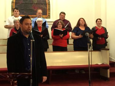 "Ryan Kirk and the choir from our ""Christmas Jubilee,"" held Sunday evening, 12-21-14."