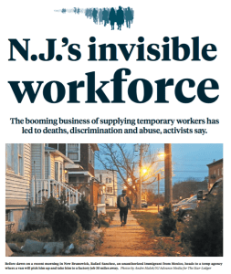 The front page of the The Star Ledger, New Jersey's biggest daily newspaper, showed a special report on the temp industry, on Sept. 18, 2016.