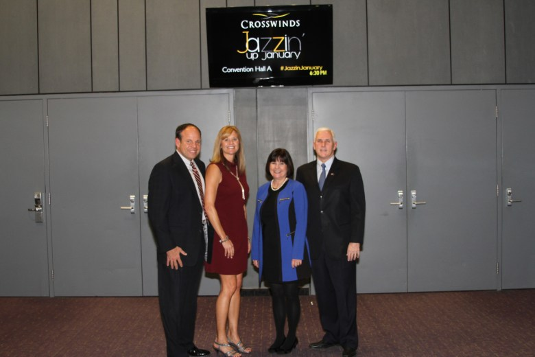 Mark and Colleen Terrell pose with Governor Mike Pence and First Lady Karen Pence at Crosswinds' annual fundraising event Jazzin' Up January.