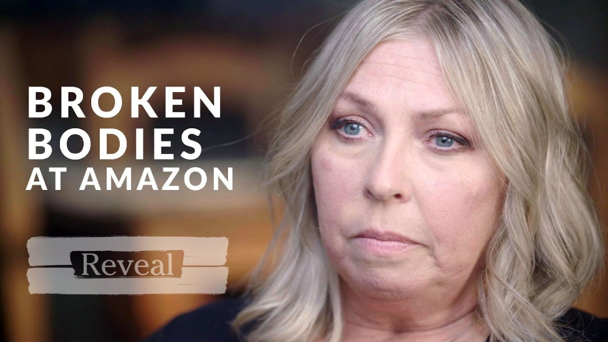 """A woman looks upset as the text """"broken bodies at amazon"""" is next to her face"""